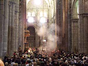 The Botafumero swings on special occasion in the Santiago Cathedral